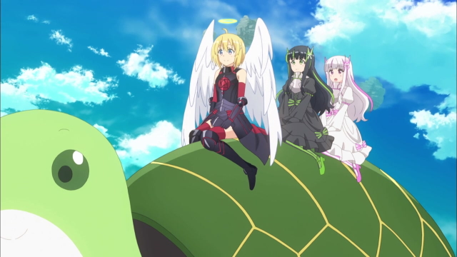 Maple, May, and Yui riding on Syrup from the anime series BOFURI: I Don't Want to Get Hurt, so I'll Max Out My Defense.