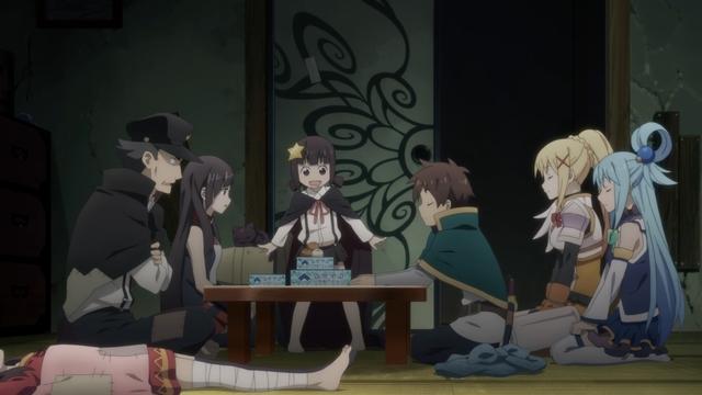 Kazuma's party meeting Megumin's family from the anime movie KonoSuba: Legend of Crimson
