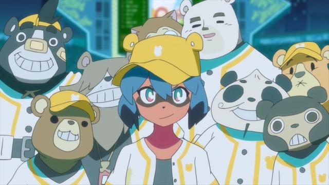 Michiru and the Bears baseball team from the anime series BNA: Brand New Animal