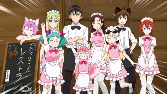 The cooking club from the anime series Seton Academy: Join the Pack!