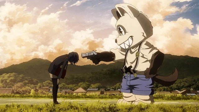 Shuuichi pointing a gun at Erena from the anime series Gleipnir
