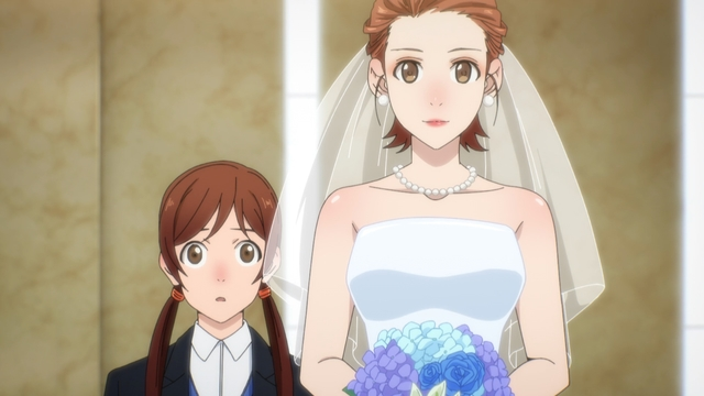 Mira in her wedding dress (and her sister) from the anime series The God of High School