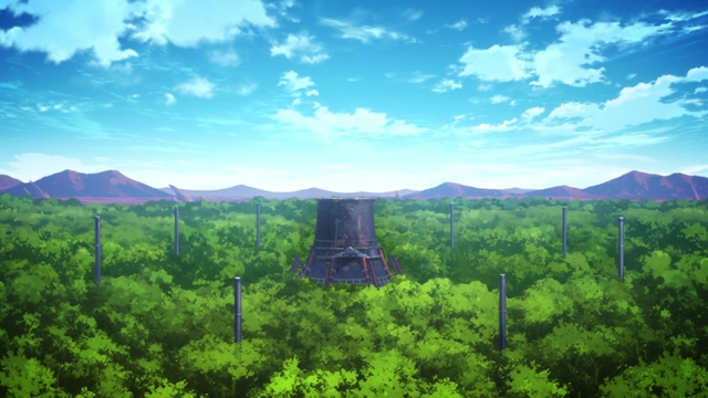 The Tabernacle surrounded by pillars in the Oasis from the anime series Fire Force season 2