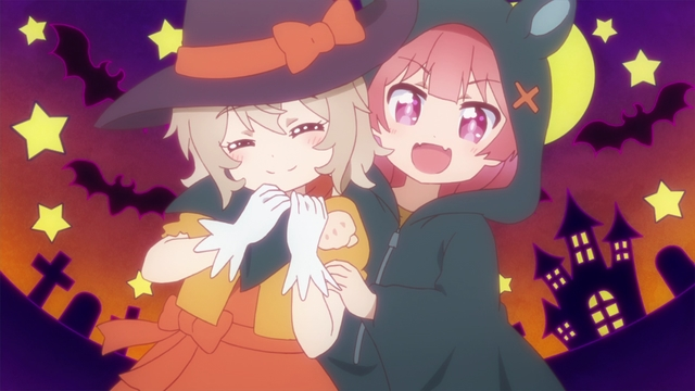 Kanon and Koyori wearing Halloween costumes from the WATATEN!: an Angel Flew Down to Me anime series special
