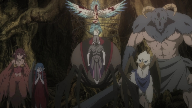 The Xenos lured into a trap by adventurers from the anime series DanMachi III