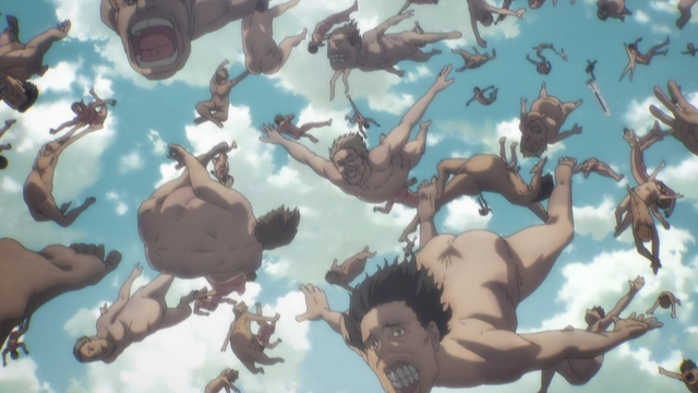 Titans falling from an airship from the anime series Attack on Titan: The Final Season