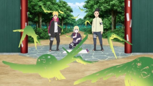 Inojin using his Super Beast Scroll to power up his sensory jutsu from the anime series Boruto: Naruto Next Generations