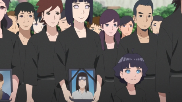 Hinata and Himawari observing Remembrance Day from the anime series Boruto: Naruto Next Generations
