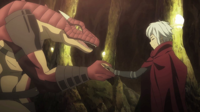 Bell and Lyd shaking hands from the anime series DanMachi III