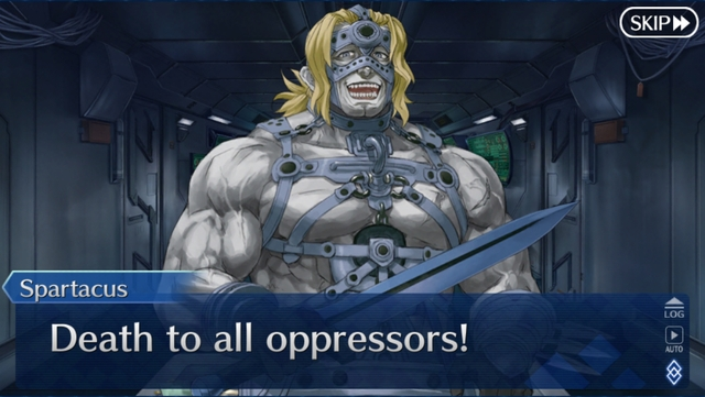 """Spartacus saying """"Death to all opressors!"""" from the game Fate/Grand Order: Lostbelt 3 - SIN"""