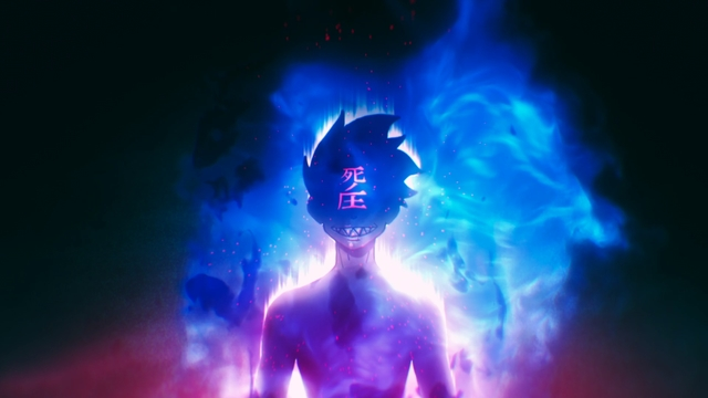 Shinra feeling the Press of Death from the anime series Fire Force Season 2
