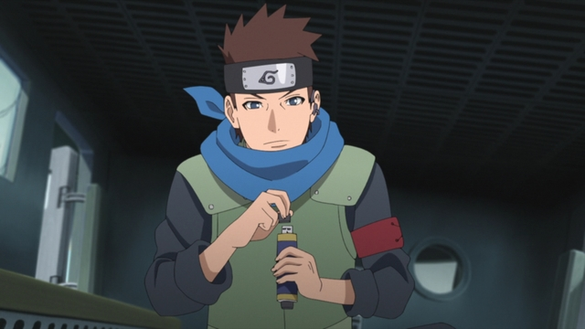 Konohamaru using a scroll USB flash drive from the anime series Boruto: Naruto Next Generations