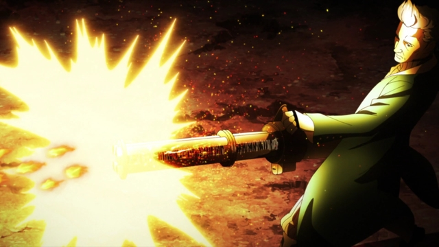 Ao using a jutsu bomb minigun from the anime series Boruto: Naruto Next Generations
