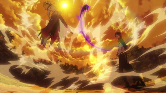 Subaru using his Invisible Providence ability on Garfiel from the anime series Re:ZERO Season 2 Part 2