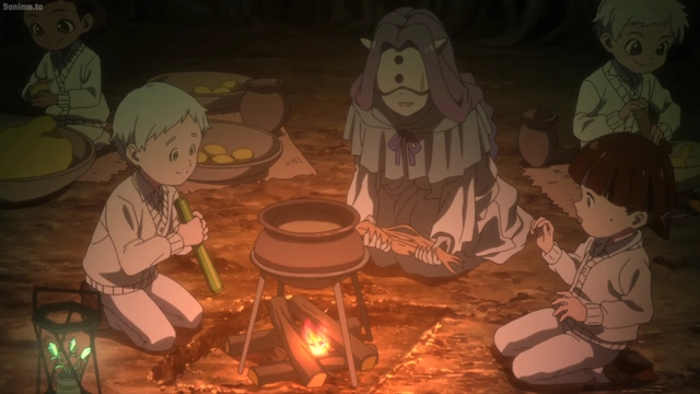 Mujika teaching the children to cook from the anime series The Promised Neverland 2nd Season