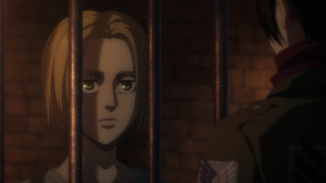 Mikasa visiting Louise in jail from the anime series Attack on Titan: The Final Season