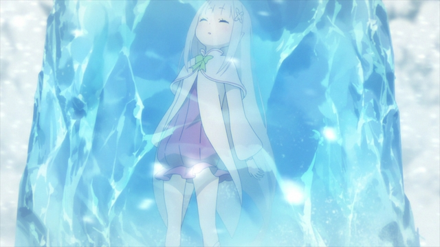 Emilia frozen in the forest from the anime series Re:ZERO Season 2