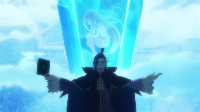 Roswaal confronted by Ram at the magic crystal from the anime series Re:ZERO Season 2