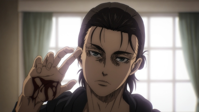 Eren just wanting to talk from the anime series Attack on Titan: The Final Season