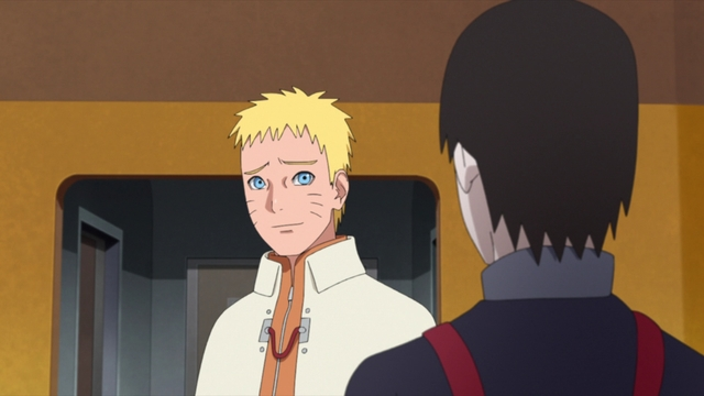 Naruto and Sai heading to the research facility from the anime series Boruto: Naruto Next Generations