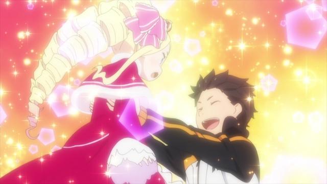 Subaru lifting Betty up from the anime series Re:ZERO Season 2