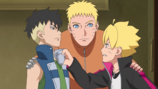 Naruto and his two sons from the anime series Boruto: Naruto Next Generations