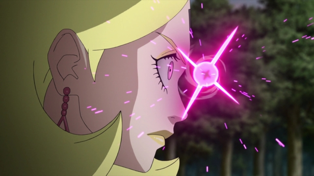 Delta charging her laser eyes from the anime series Boruto: Naruto Next Generations