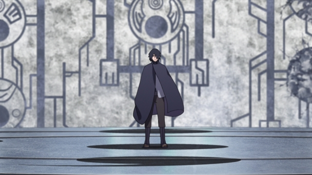 Sasuke arriving in the dimension home to Kara from the anime series Boruto: Naruto Next Generations