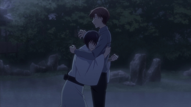Akito stabbing Kureno in the back from the anime series Fruits Basket The Final Season