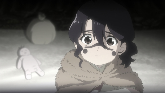 Parona hiding from the Yanome envoy as a child from the anime series To Your Eternity