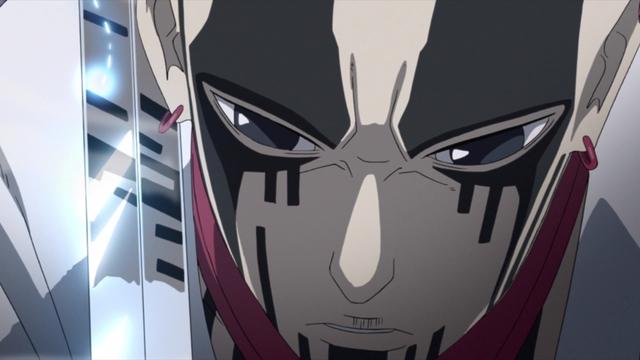 Sasuke's blade at Jigen's neck from the anime series Boruto: Naruto Next Generations