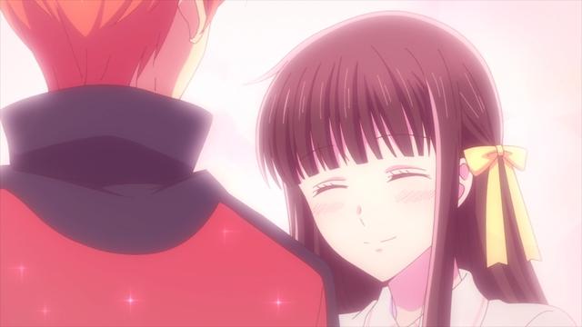 Kyou making Tohru smile from the anime series Fruits Basket The Final Season