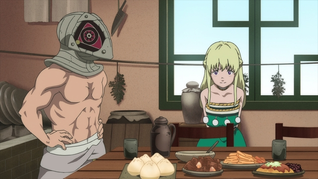 Gugu and Rean admiring Fushi's food from the anime series To Your Eternity