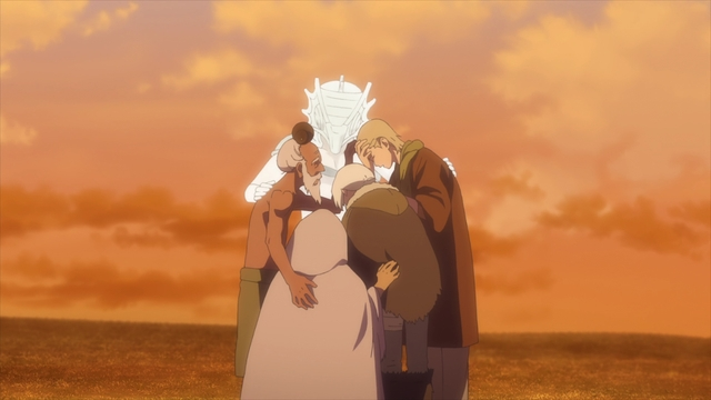 Everyone mourning Gugu's death from the anime series To Your Eternity