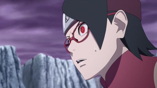 Sarada looking for Boro's weakness from the anime series Boruto: Naruto Next Generations