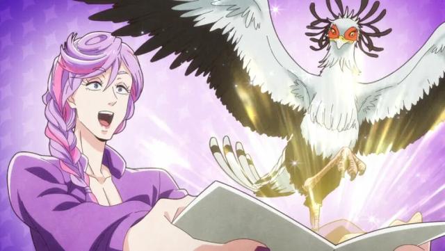 Kanamori creating a secretary bird from the anime series Heaven's Design Team