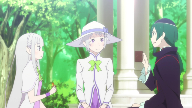 Emilia, Mother Fortuna, and Geuse from the anime series Re:ZERO Season 2 Part 2