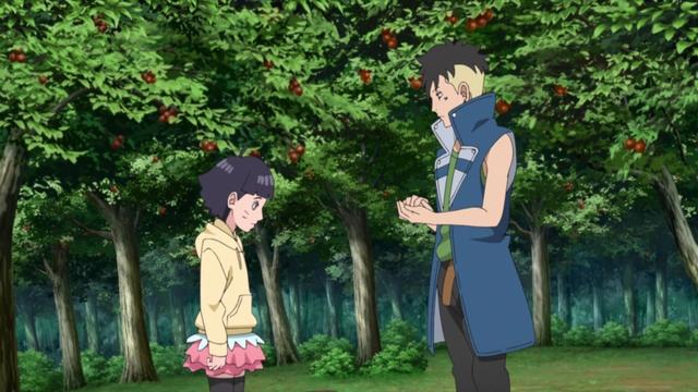 Himawari and Kawaki gathering food for Jaggy from the anime series Boruto: Naruto Next Generations