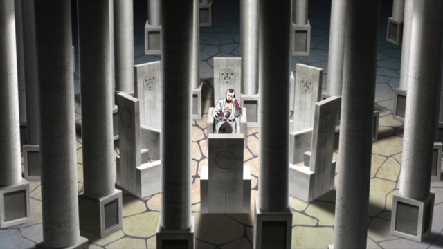 Jigen sitting on one of six thrones from the anime series Boruto: Naruto Next Generations