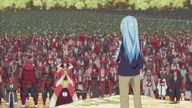 Rimuru standing before his army from the anime series That Time I Got Reincarnated as a Slime Season 2 Part 2