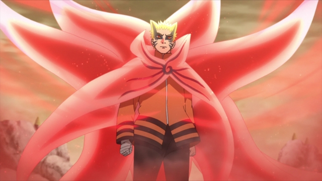 Naruto in what appears to be a Nine-Tailed Sage Mode from the anime series Boruto: Naruto Next Generations