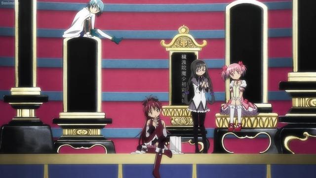 Sayaka, Kyouko, Homura, and Madoka just chilling from the anime series Magia Record: Puella Magi Madoka Magica Side Story 2nd Season