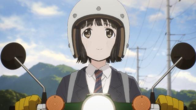 Koguma riding her Super Cub from the Super Cub anime series