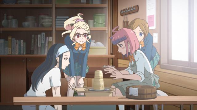 Touko, Kukuri, and Naoko watching Himeno make pottery from the anime series Let's Make a Mug Too
