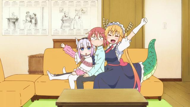 Kanna, Kobayashi, and Tohru from the anime series Miss Kobayashi's Dragon Maid S