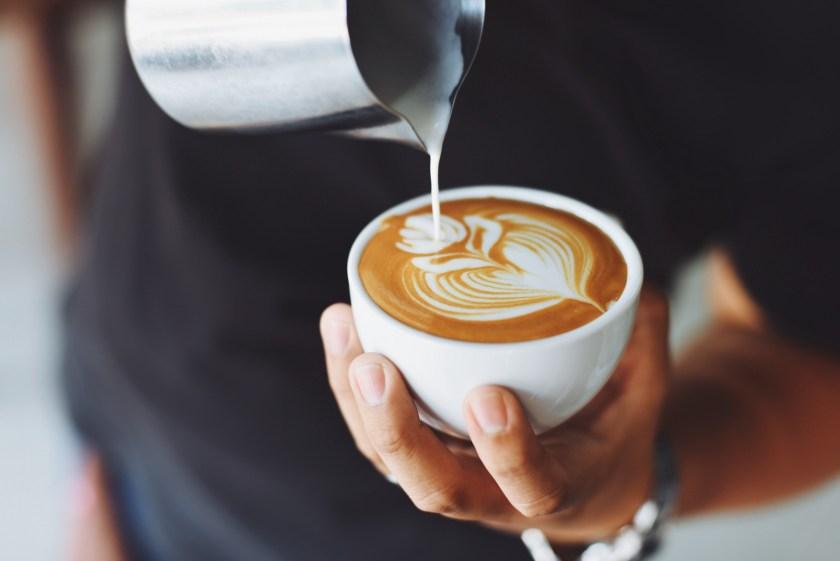 Latte art in coffee cup