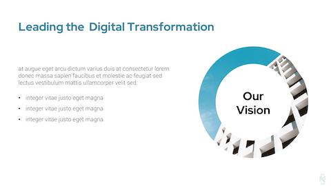digital transformation, white space on slide, office building