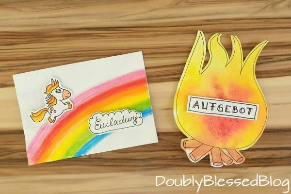 Einladungskarte basteln mit Kindern - Feuerwehr & Einhorn - Mit STABILO Woody 3-in-1 und Pen 68 Maltechniken
