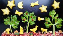 emporte-pièces, mangue, carambole, animal, arbre, fruit, légumes, lapin, cheval, oiseau, canard, oie, fond noir