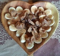Coeur de fruits - banane, cannelle, crème de marrons et chocolat noir